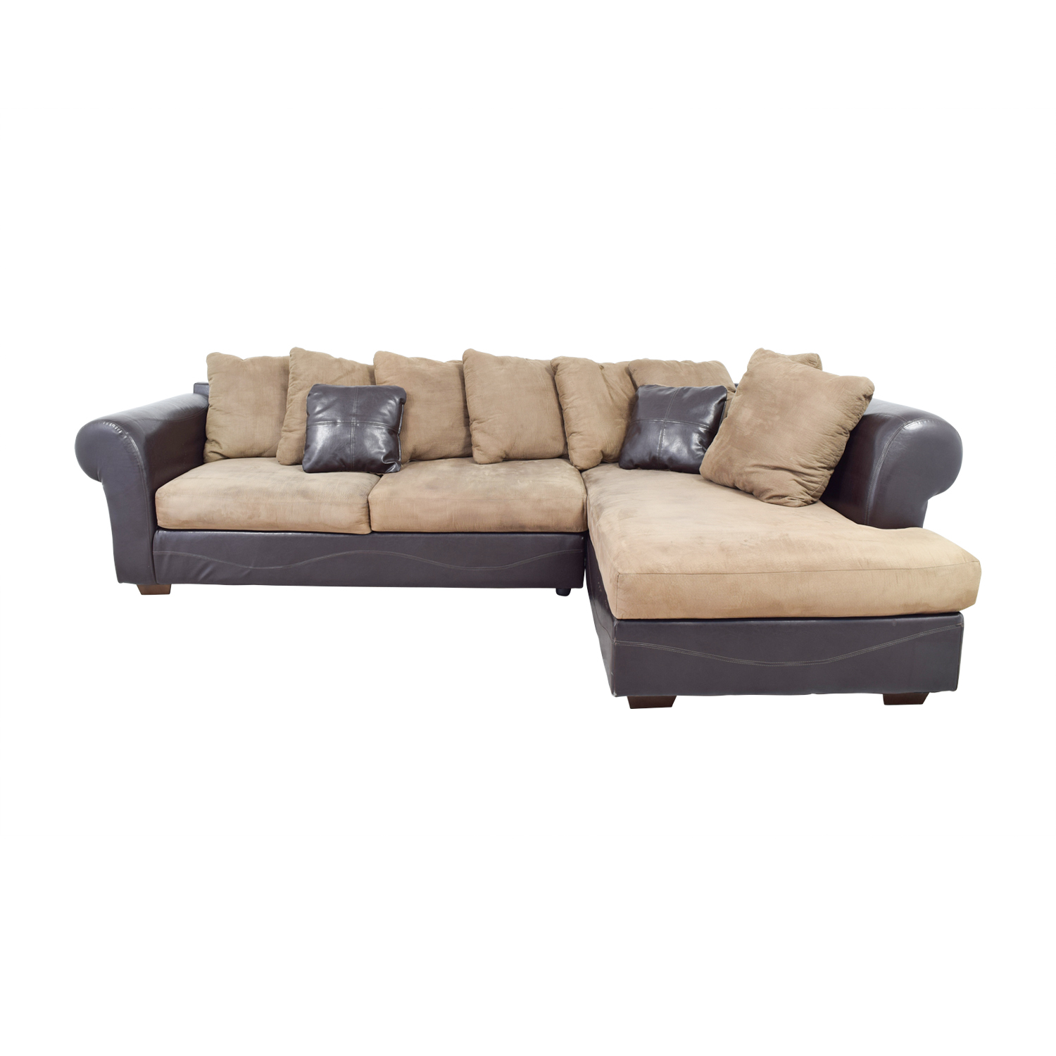 Ashley Furniture Brown Leather and Tan Microfiber Chaise Sectional sale