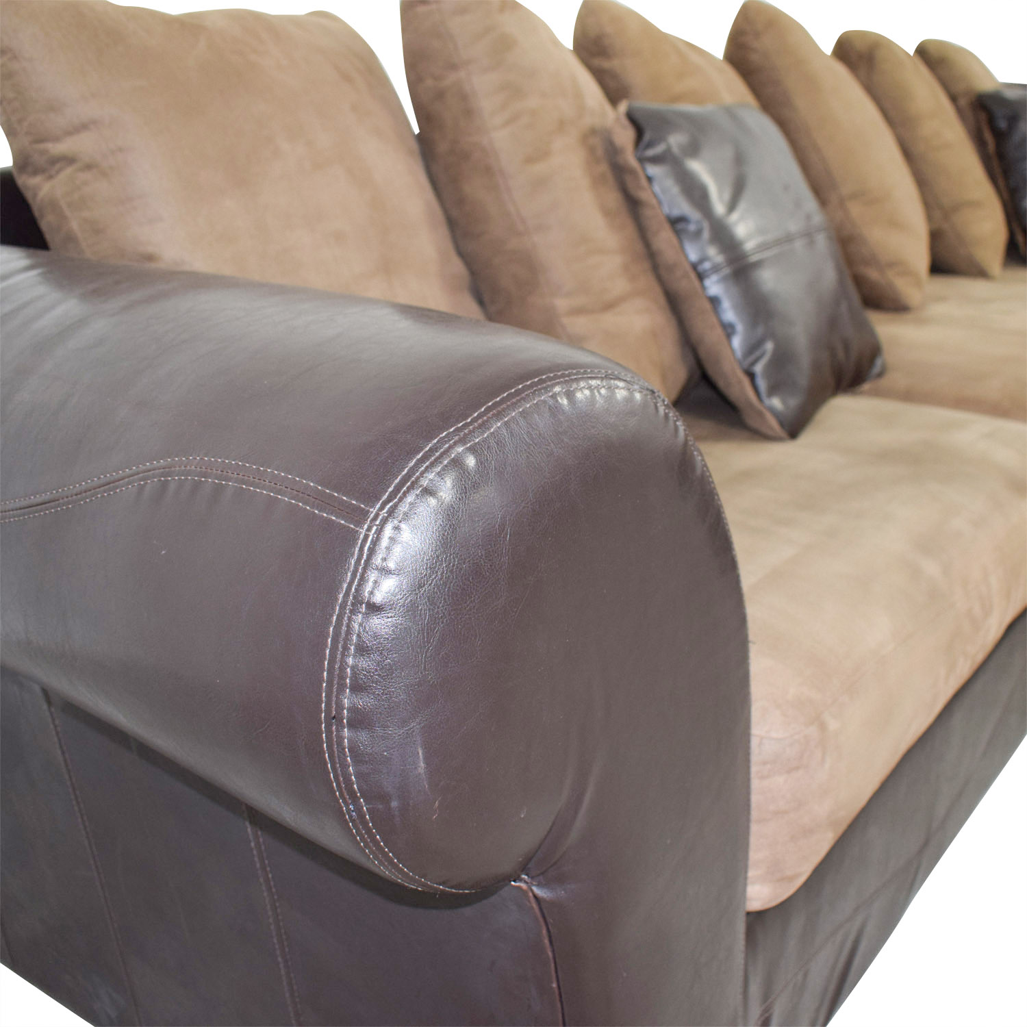 Ashley Furniture Ashley Furniture Brown Leather and Tan Microfiber Chaise Sectional discount