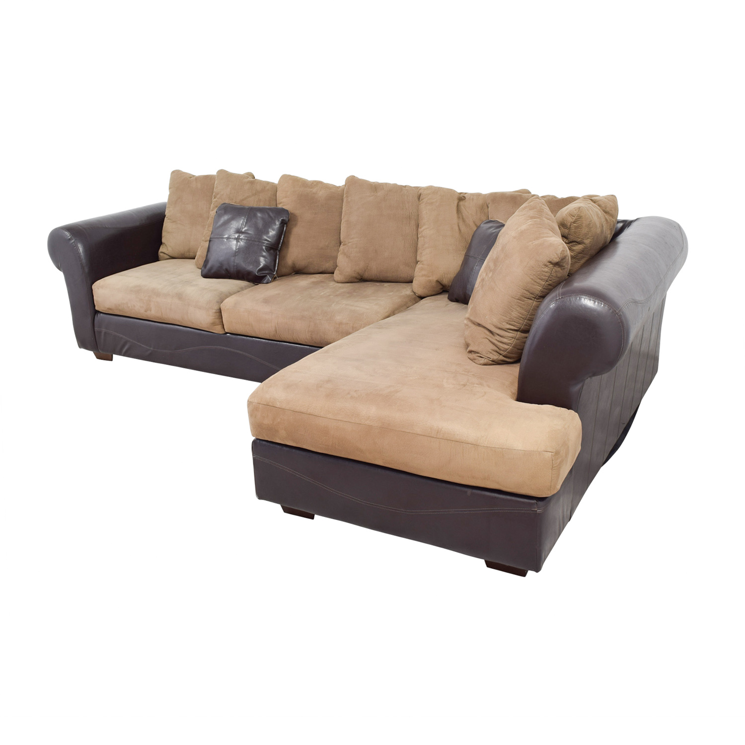 shop Ashley Furniture Ashley Furniture Brown Leather and Tan Microfiber Chaise Sectional online