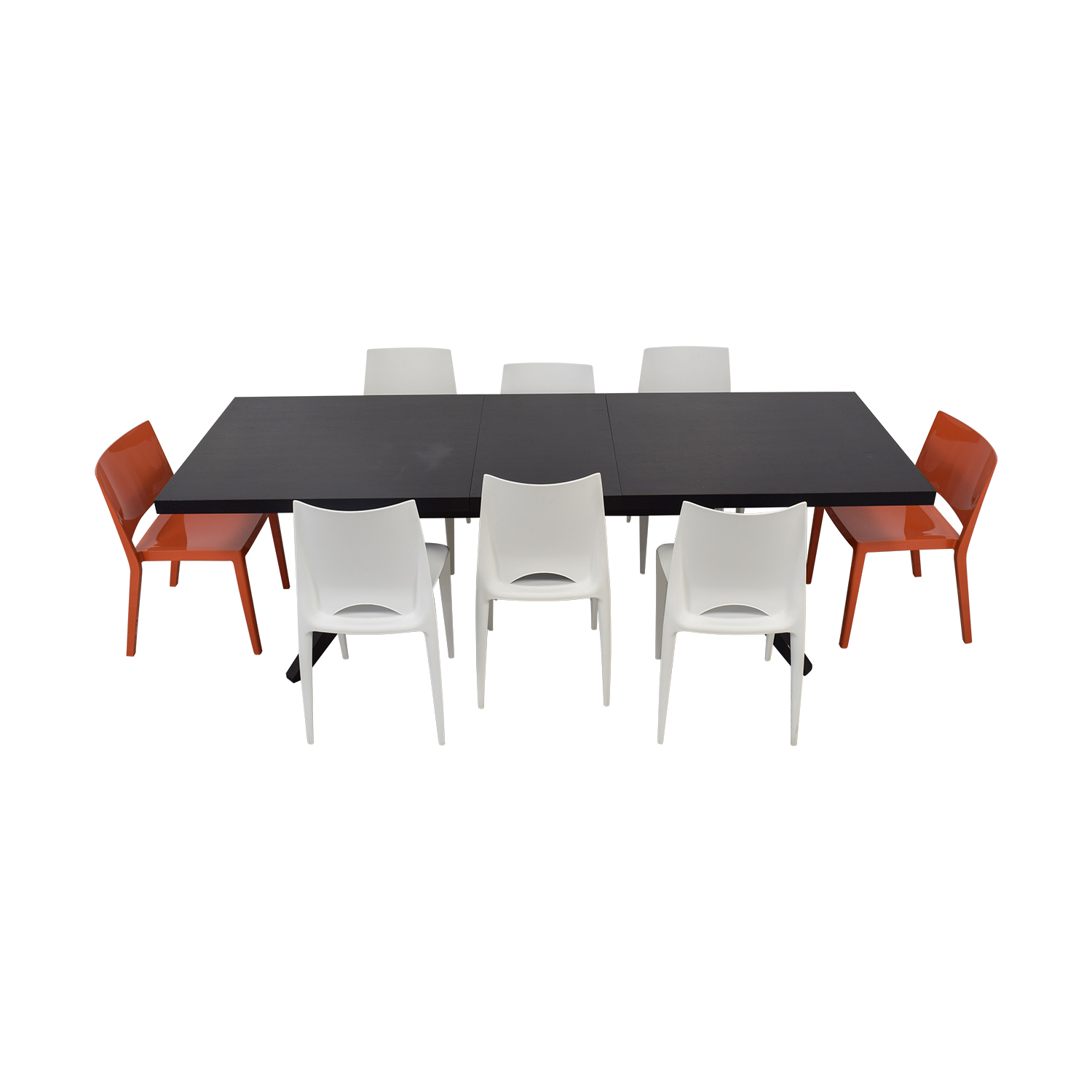 Design Within Reach Wood Extendable Table with White and Orange Chairs Dark Brown