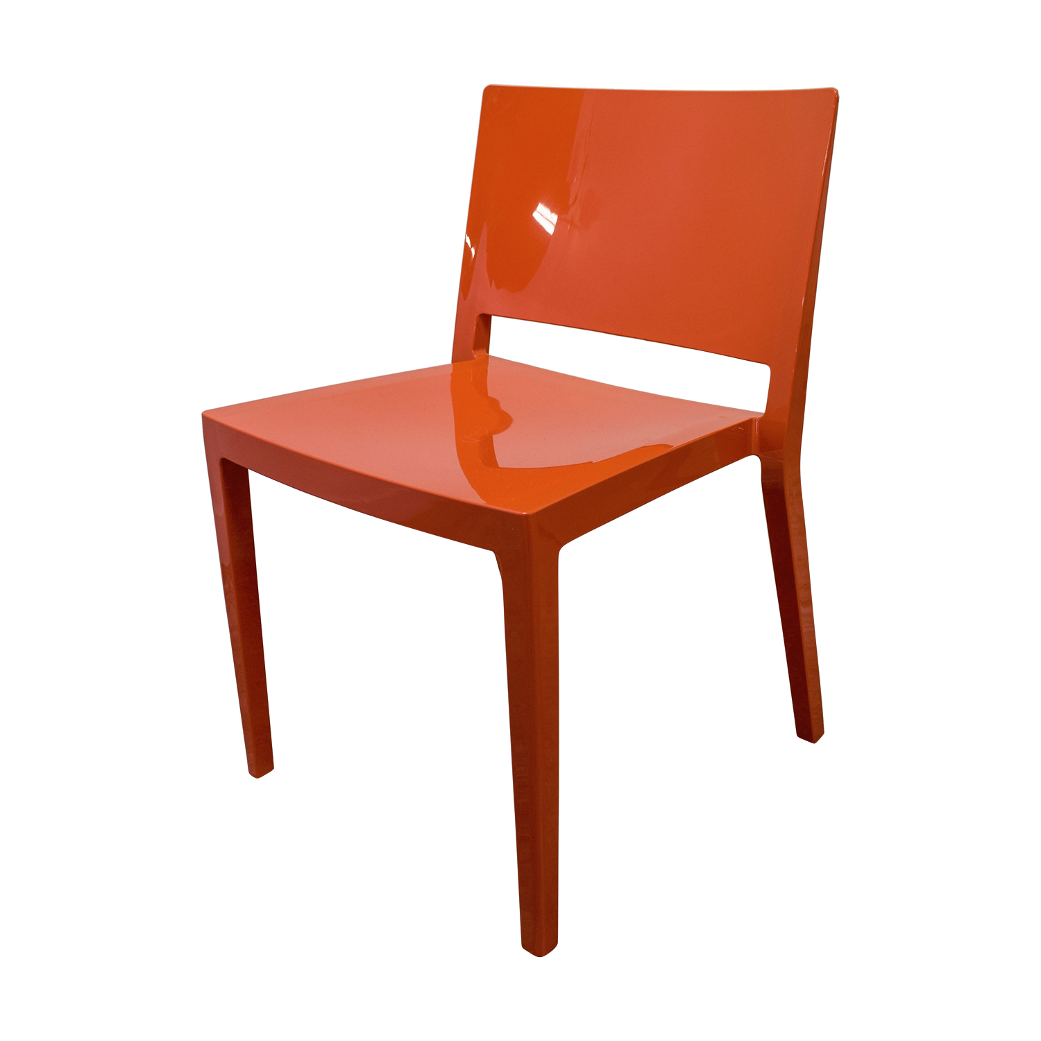 shop Wood Extendable Table with White and Orange Chairs Design Within Reach