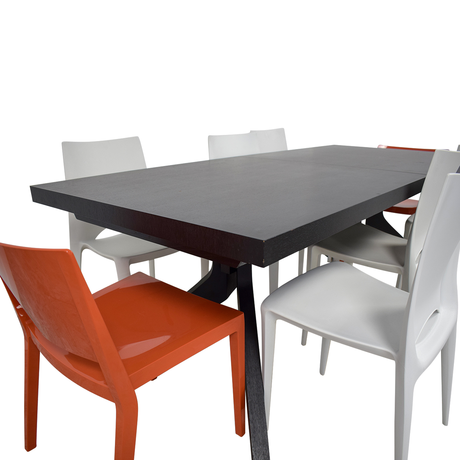 Design Within Reach Wood Extendable Table with White and Orange Chairs used