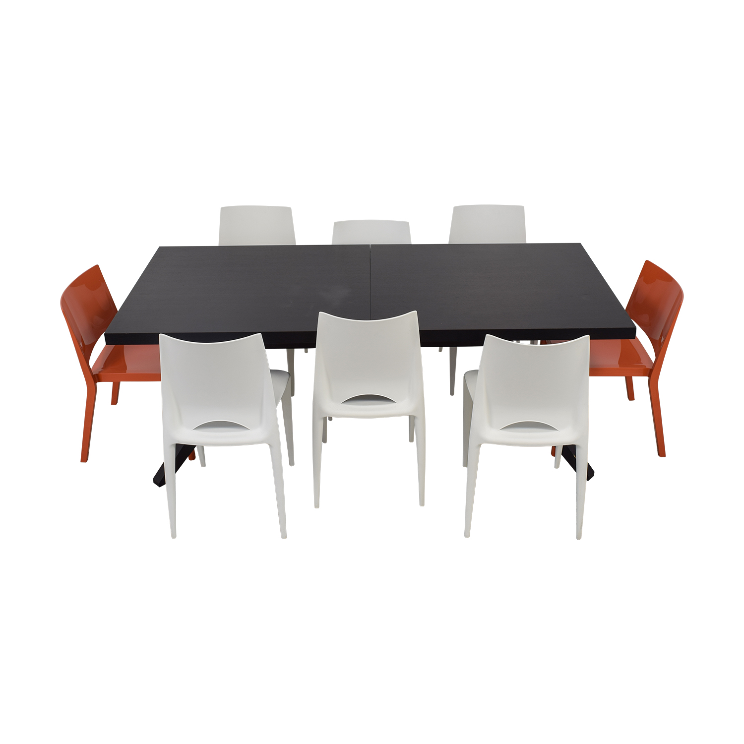 Design Within Reach Wood Extendable Table with White and Orange Chairs dimensions