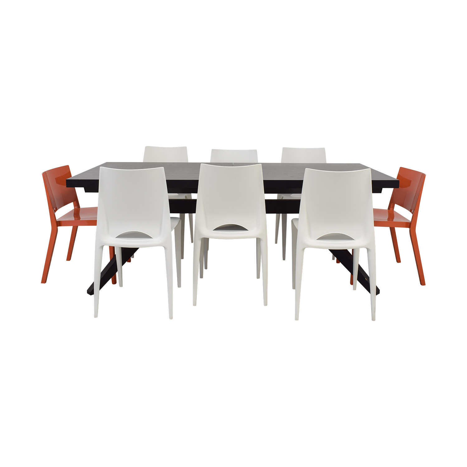 Wood Extendable Table with White and Orange Chairs / Dining Sets