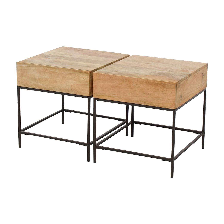 buy West Elm Rustic Raw Mango Wood Single-Drawer End Tables West Elm