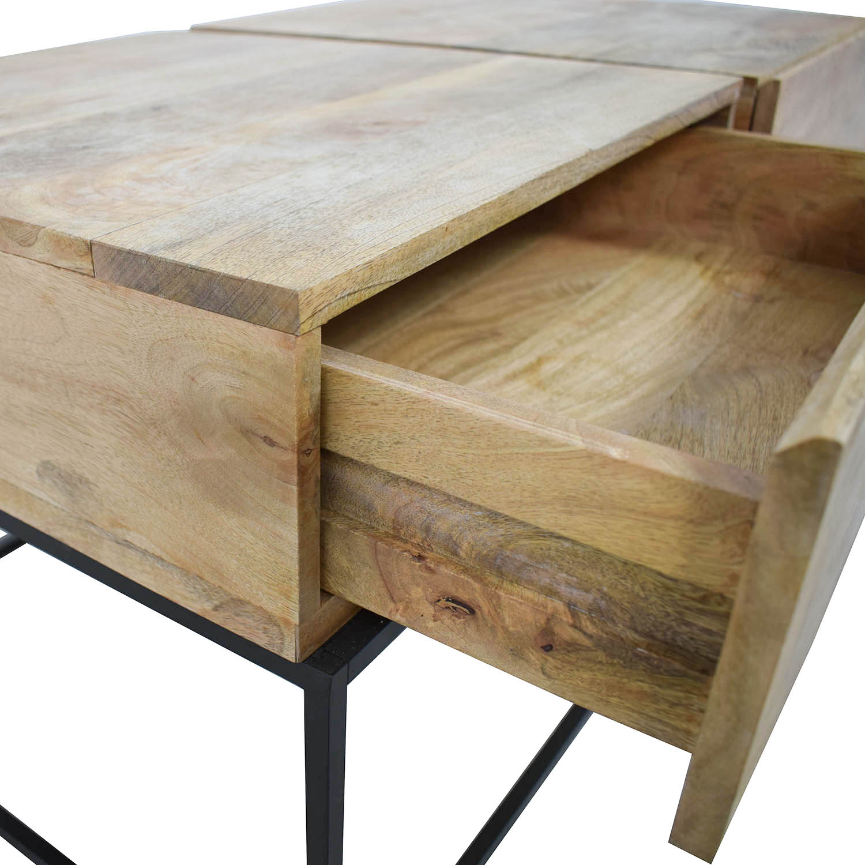 West Elm West Elm Rustic Raw Mango Wood Single-Drawer End Tables