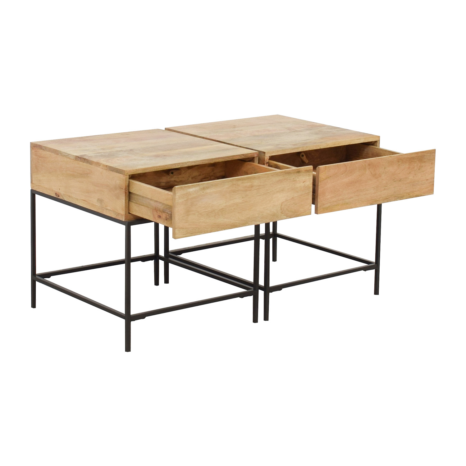 West Elm Rustic Raw Mango Wood Single-Drawer End Tables / Tables