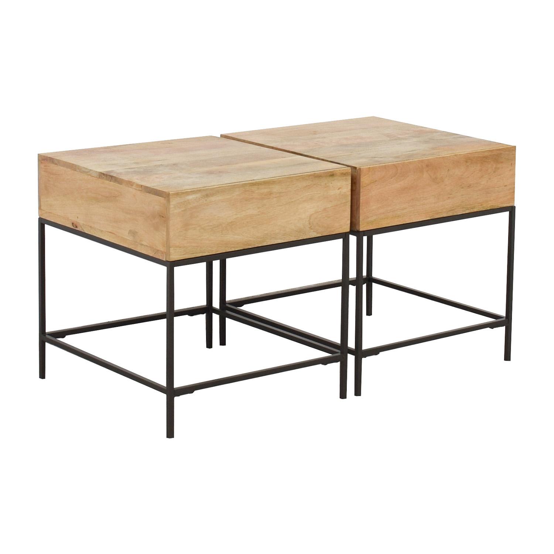 buy West Elm West Elm Rustic Raw Mango Wood Single-Drawer End Tables online