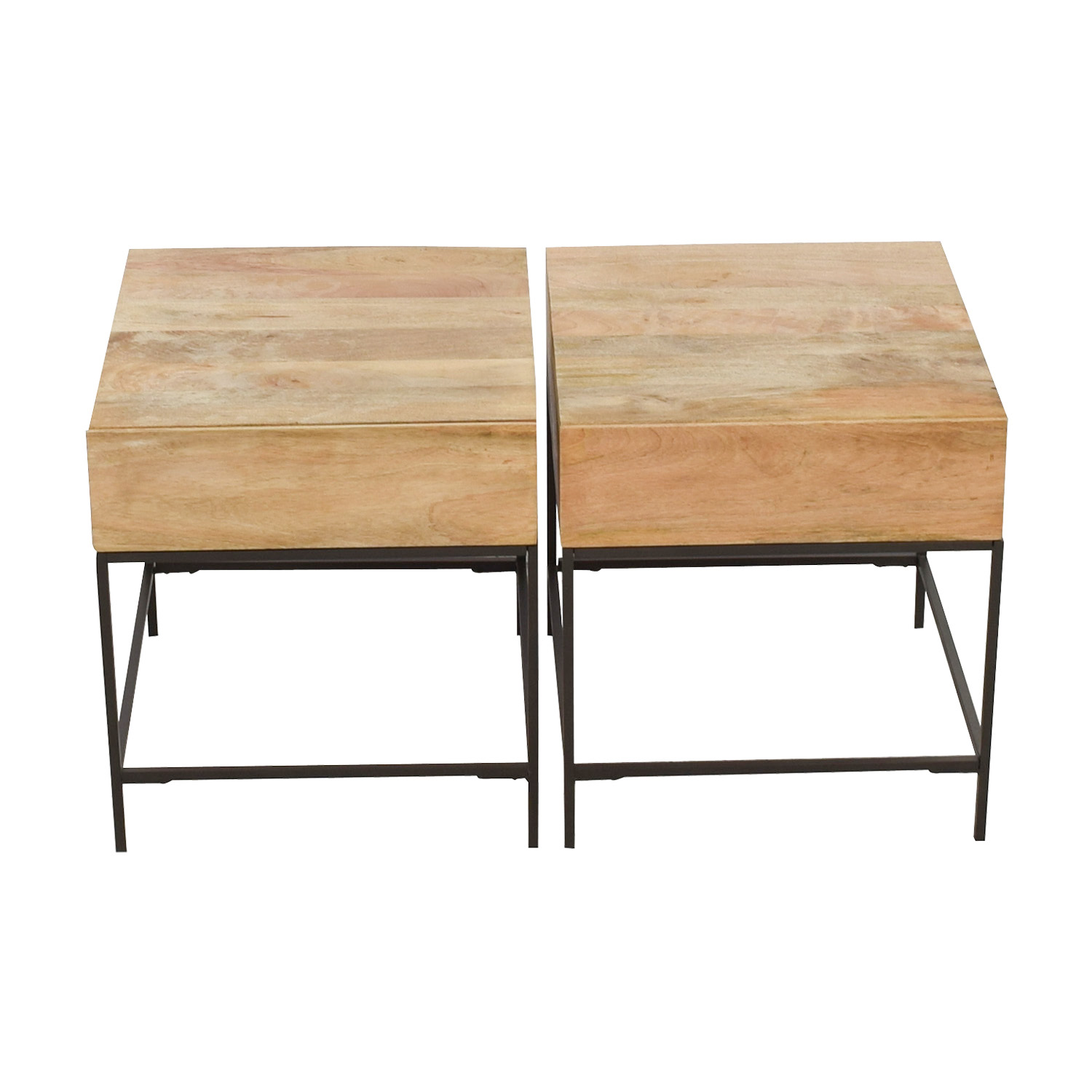West Elm West Elm Rustic Raw Mango Wood Single-Drawer End Tables price