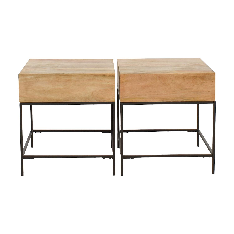 West Elm West Elm Rustic Raw Mango Wood Single-Drawer End Tables dimensions