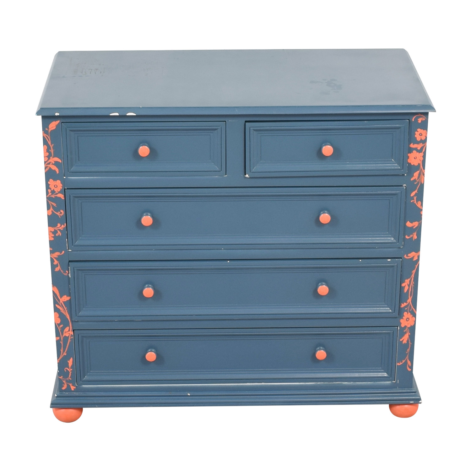 buy Blue and Orange Floral Five-Drawer Dresser  Storage