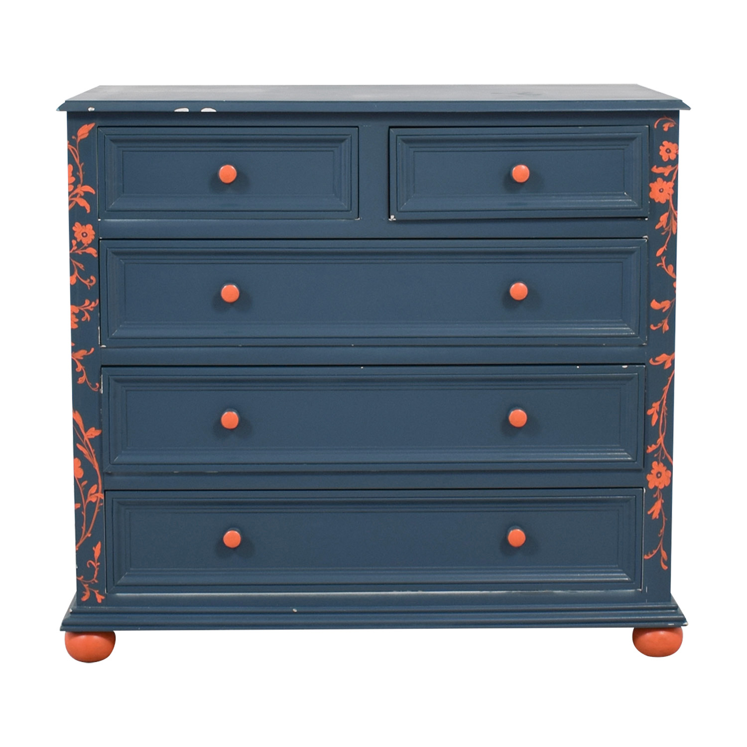 Blue and Orange Floral Five-Drawer Dresser Dressers