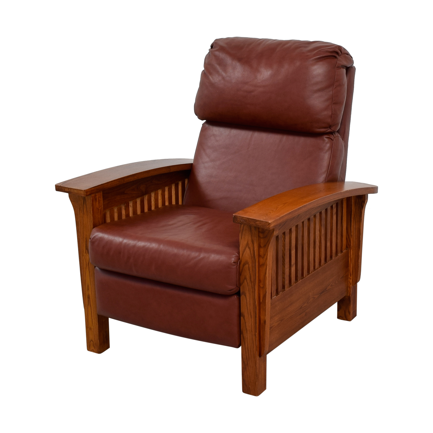 Macy's Brown Leather and Wood Recliner / Chairs