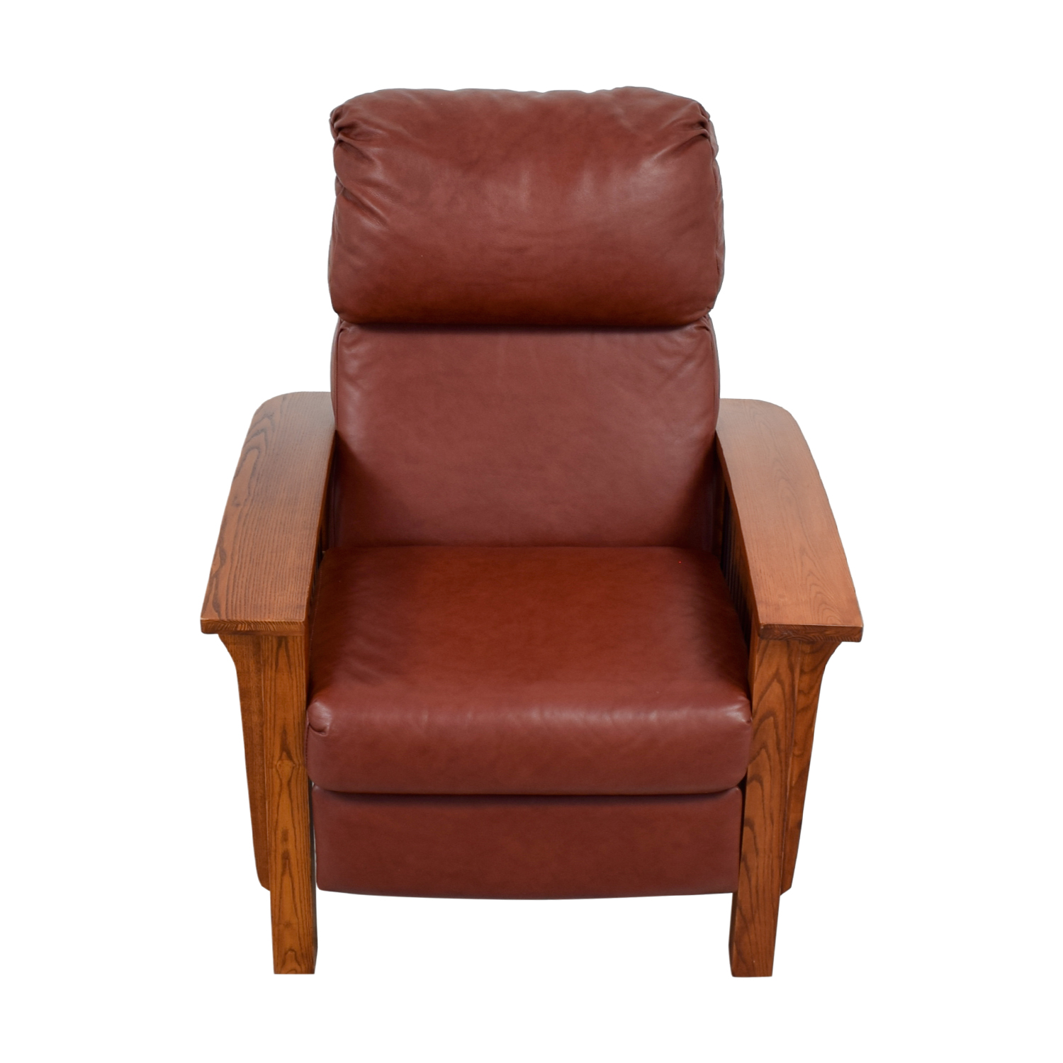 shop Macy's Brown Leather and Wood Recliner Macy's