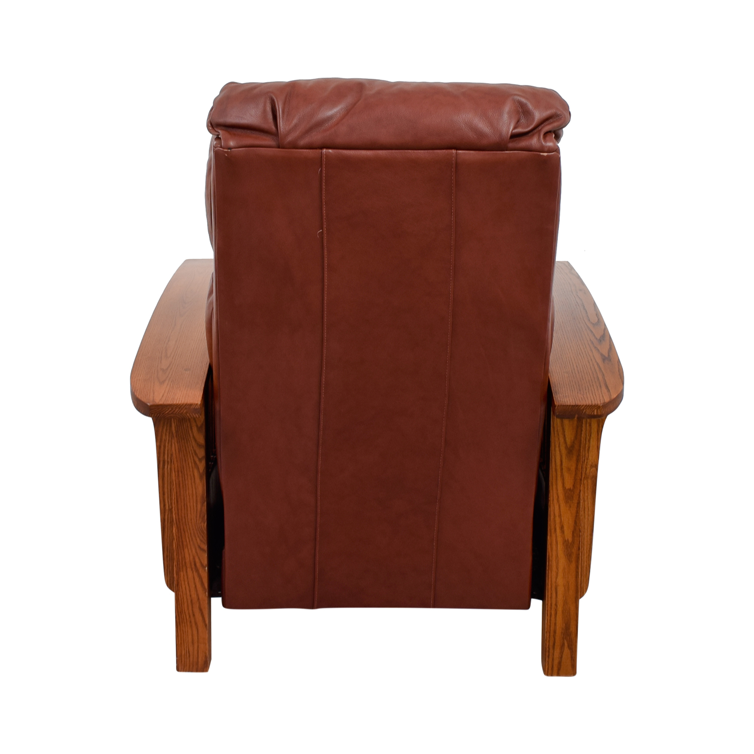 Macy's Brown Leather and Wood Recliner sale
