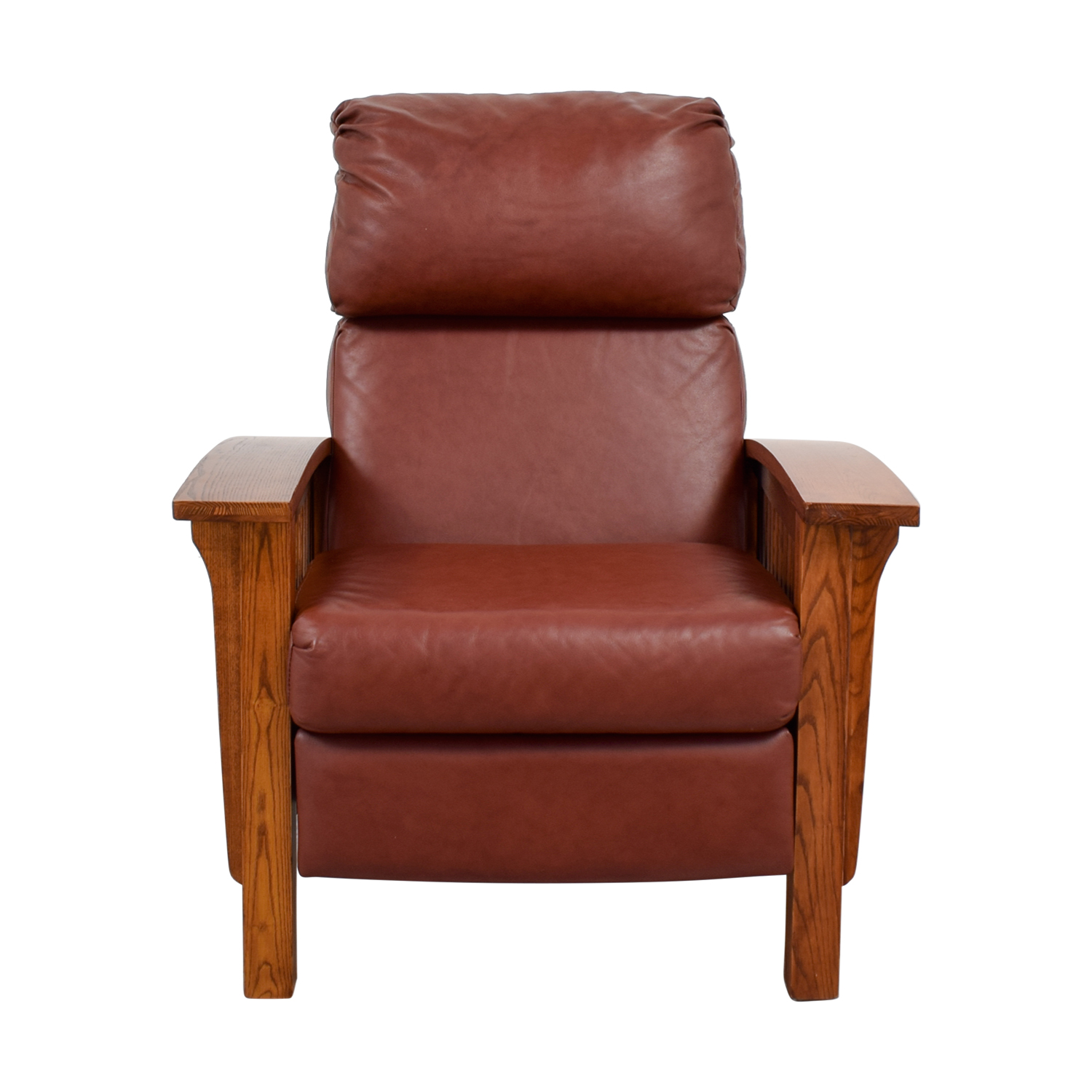 Macy's Macy's Brown Leather and Wood Recliner for sale