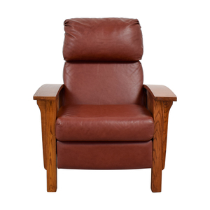 Macy's Macy's Brown Leather and Wood Recliner nj