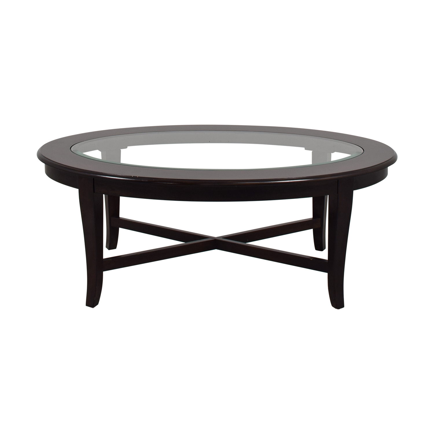 Bob's Furniture Bob's Furniture Oval Glass Coffee Table for sale