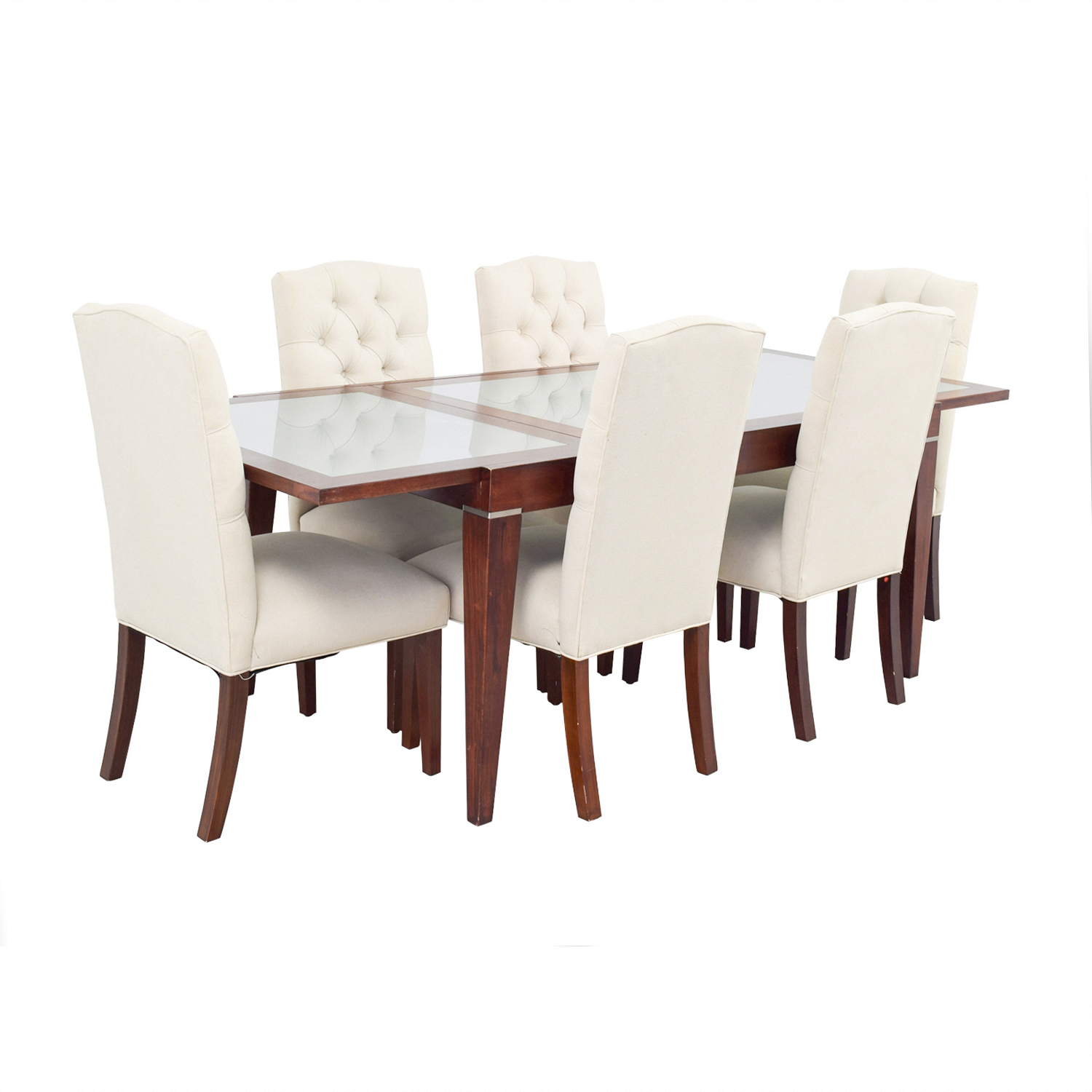 West Elm West Elm Extendable Glass & Wood Dining Set with Upholstered Tufted Chairs Beige, Brown