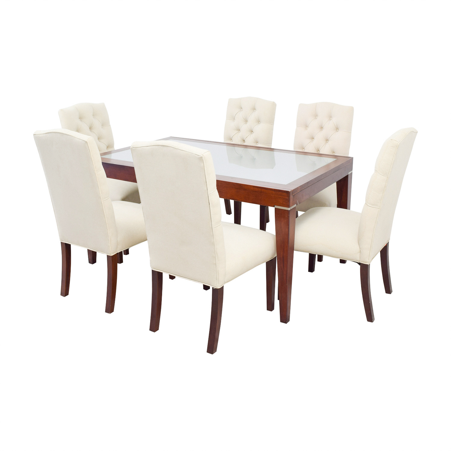 West Elm West Elm Extendable Glass & Wood Dining Set with Upholstered Tufted Chairs used
