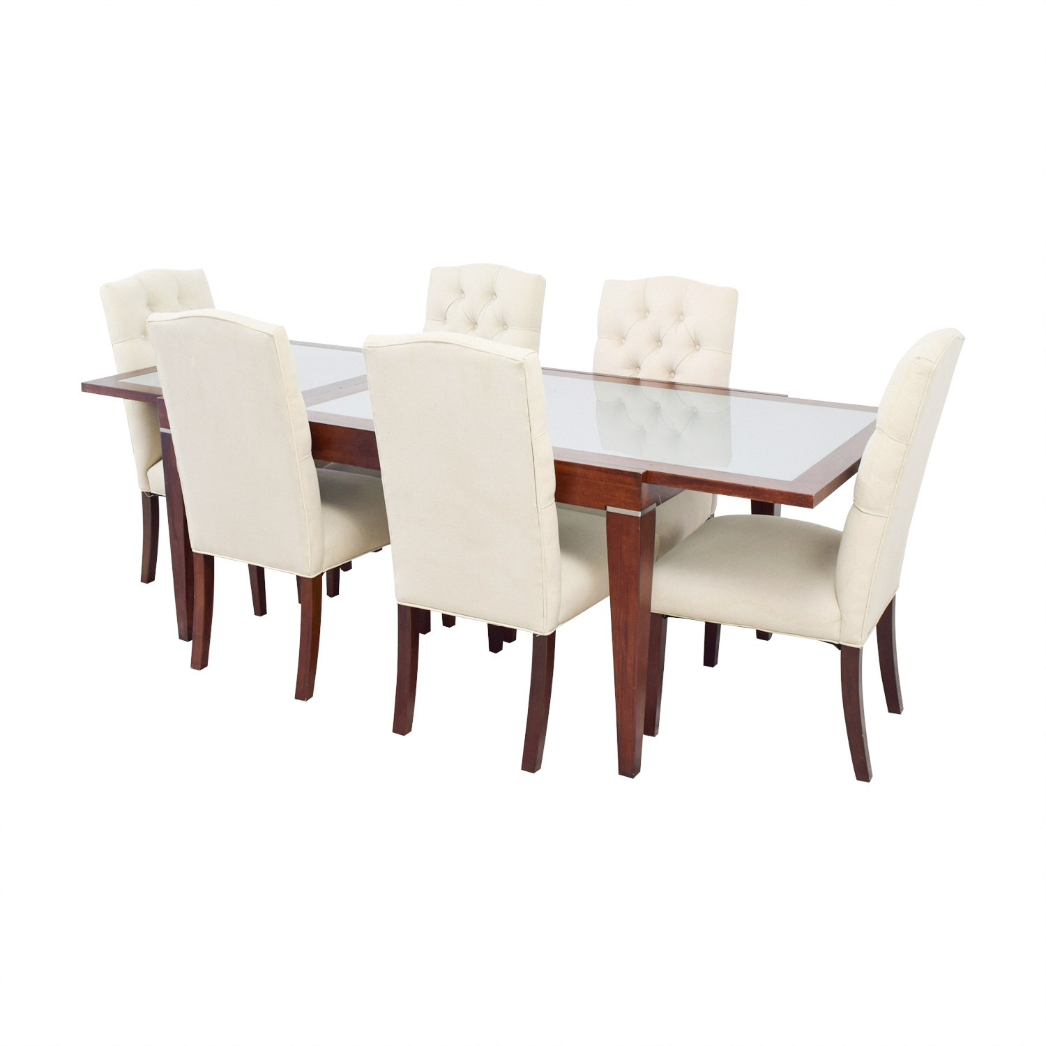 West Elm West Elm Extendable Glass & Wood Dining Set with Upholstered Tufted Chairs discount