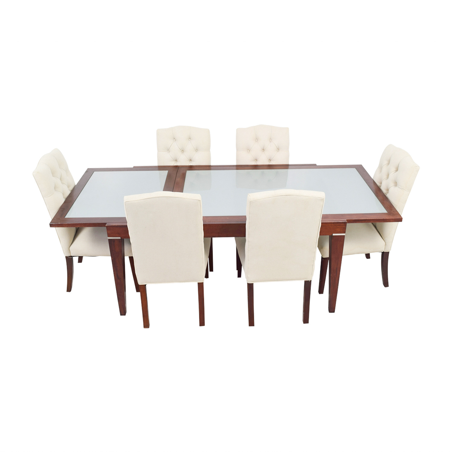 buy West Elm West Elm Extendable Glass & Wood Dining Set with Upholstered Tufted Chairs online