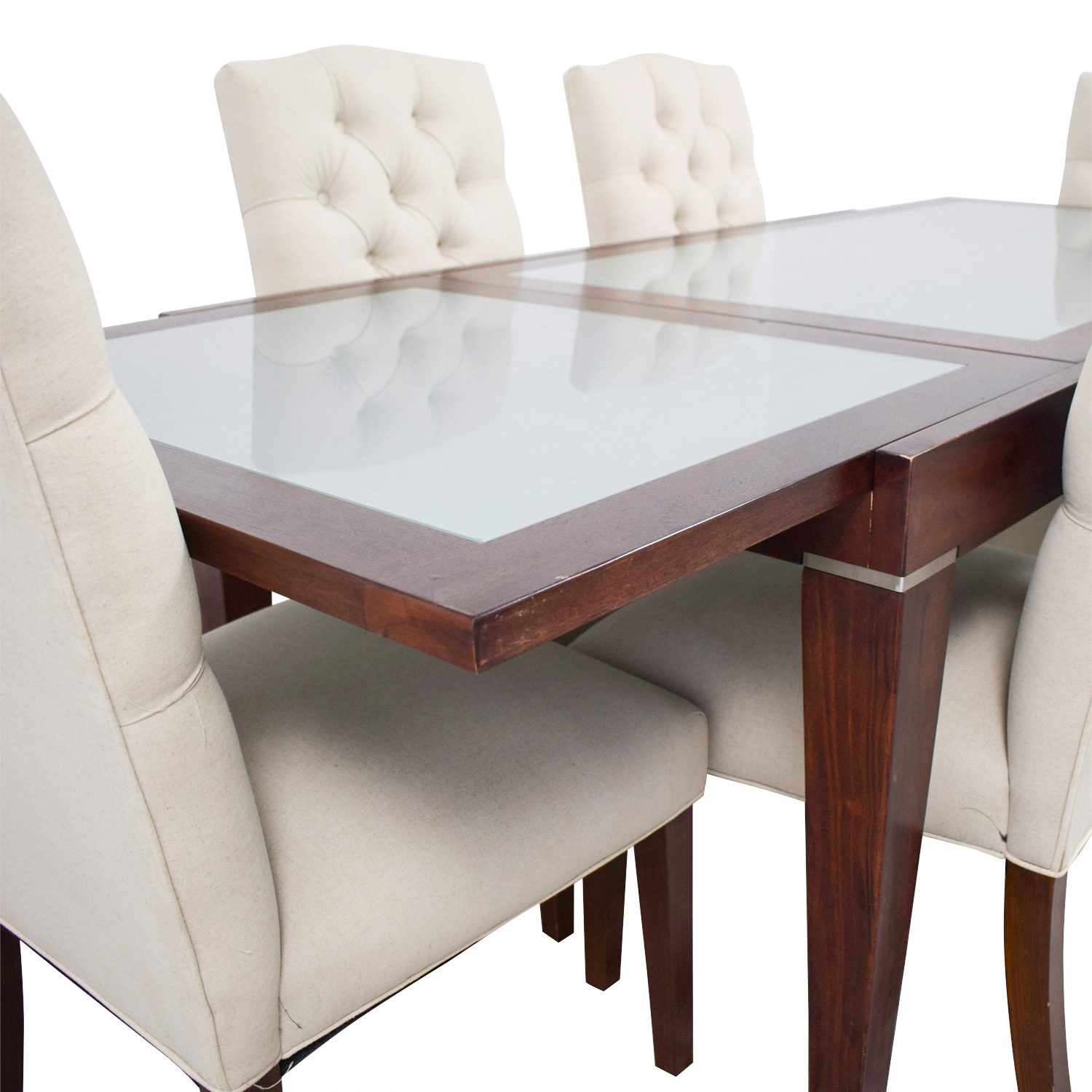 West Elm West Elm Extendable Glass & Wood Dining Set with Upholstered Tufted Chairs nyc