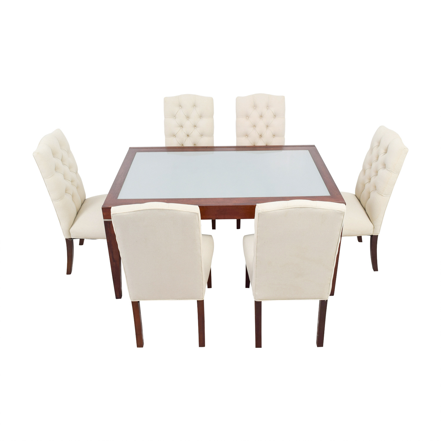West Elm West Elm Extendable Glass & Wood Dining Set with Upholstered Tufted Chairs second hand