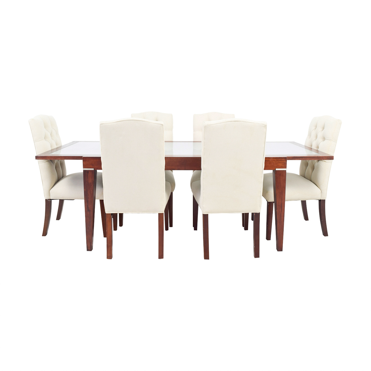 West Elm Extendable Glass & Wood Dining Set with Upholstered Tufted Chairs sale
