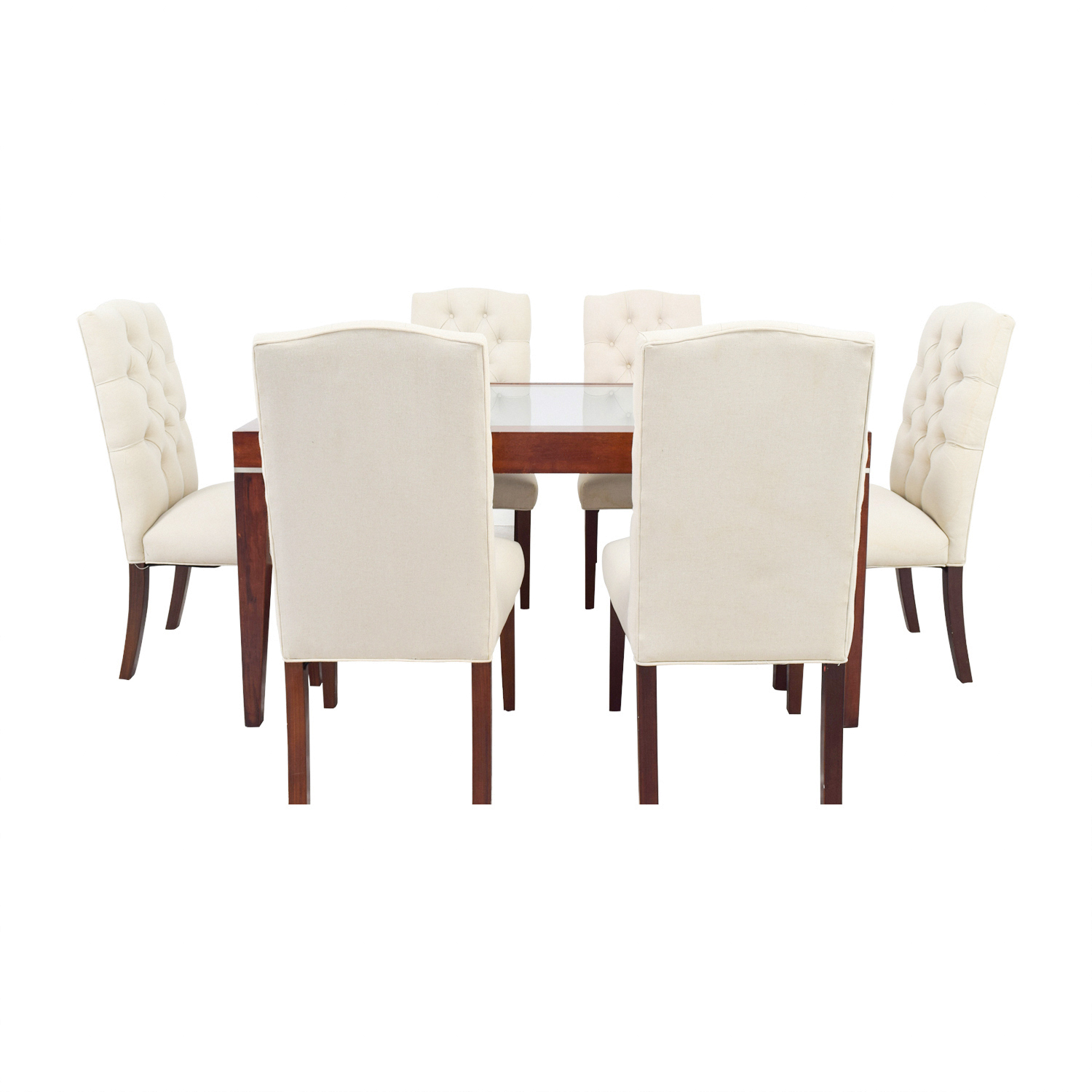 West Elm West Elm Extendable Glass & Wood Dining Set with Upholstered Tufted Chairs
