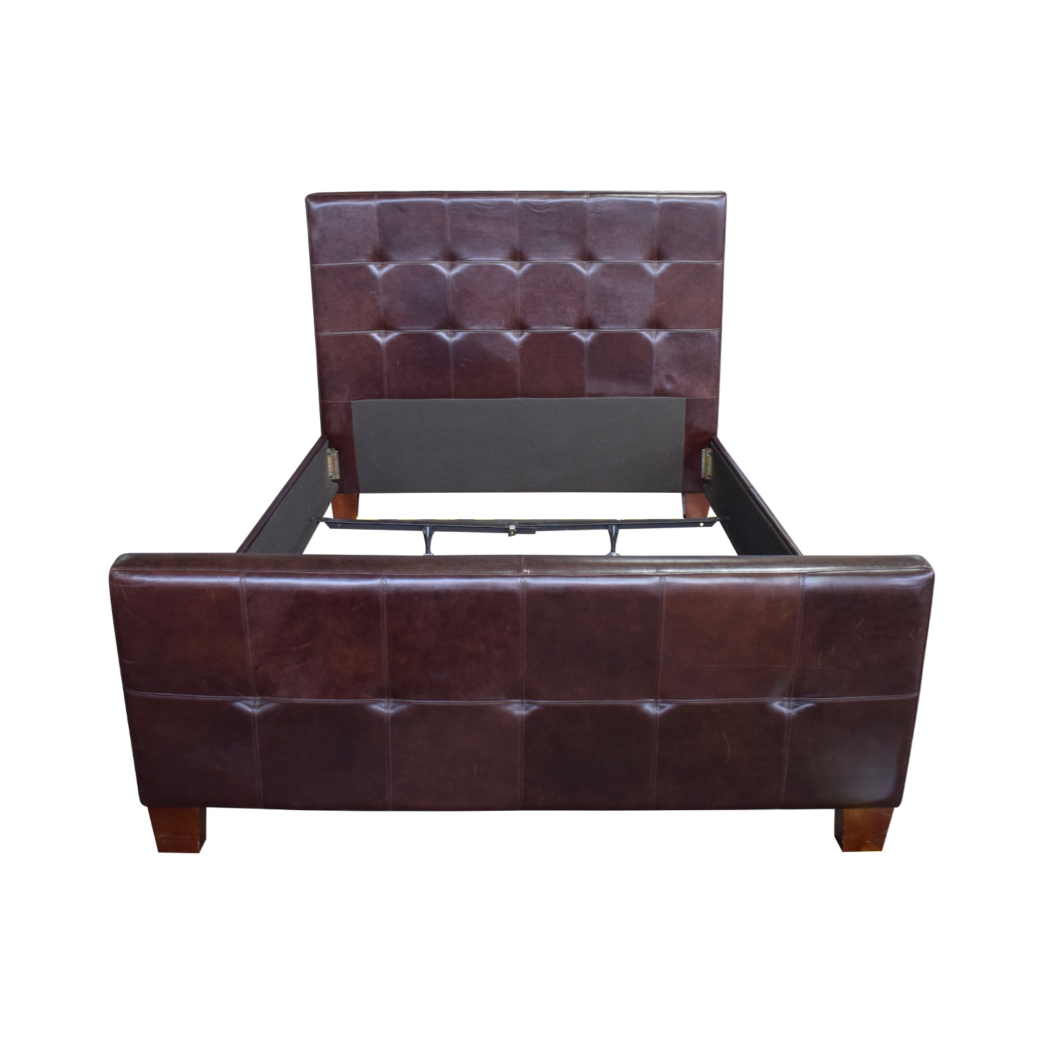 Crate & Barrel Brown Tufted Leather Queen Bed Sale