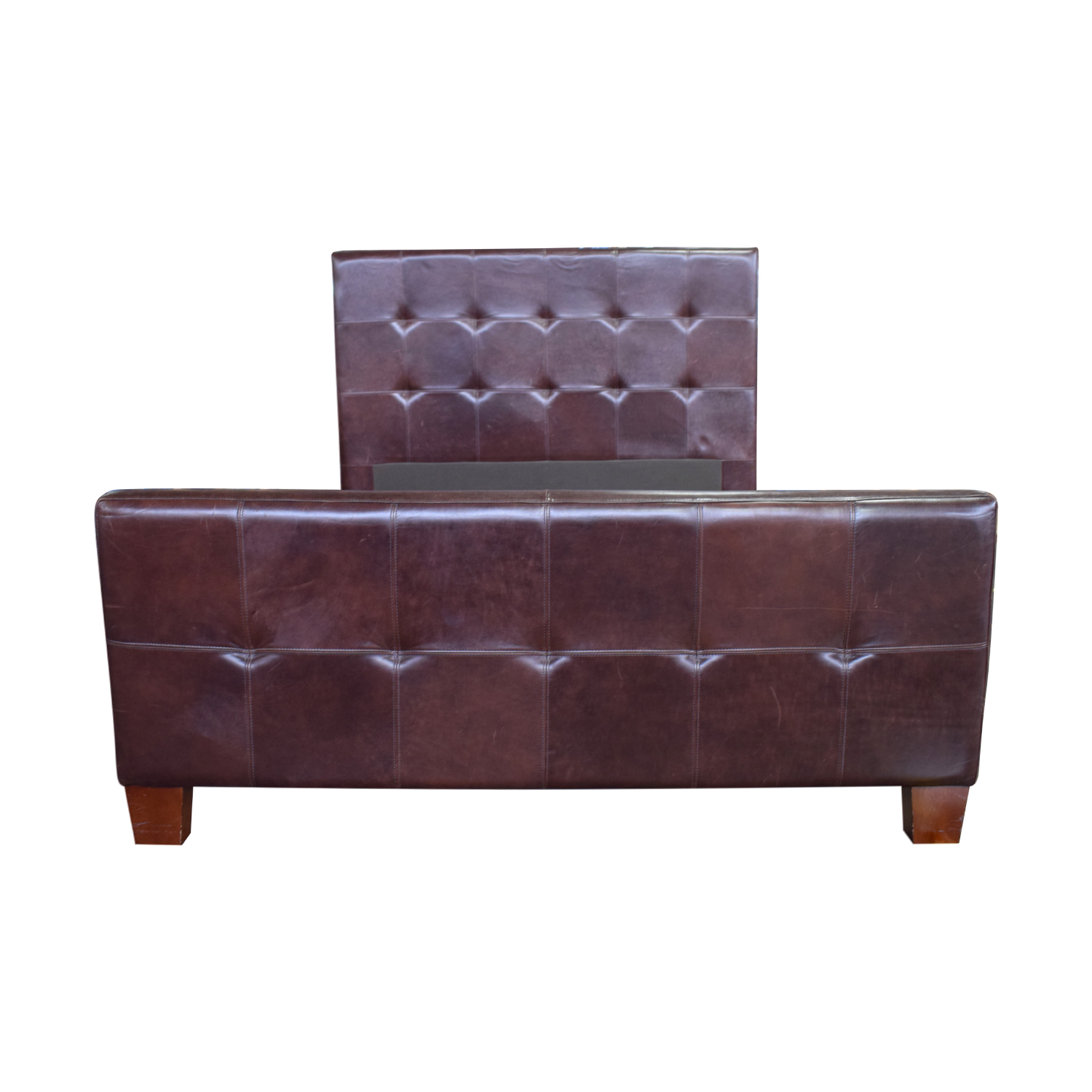 Crate & Barrel Crate & Barrel Brown Tufted Leather Queen Bed discount