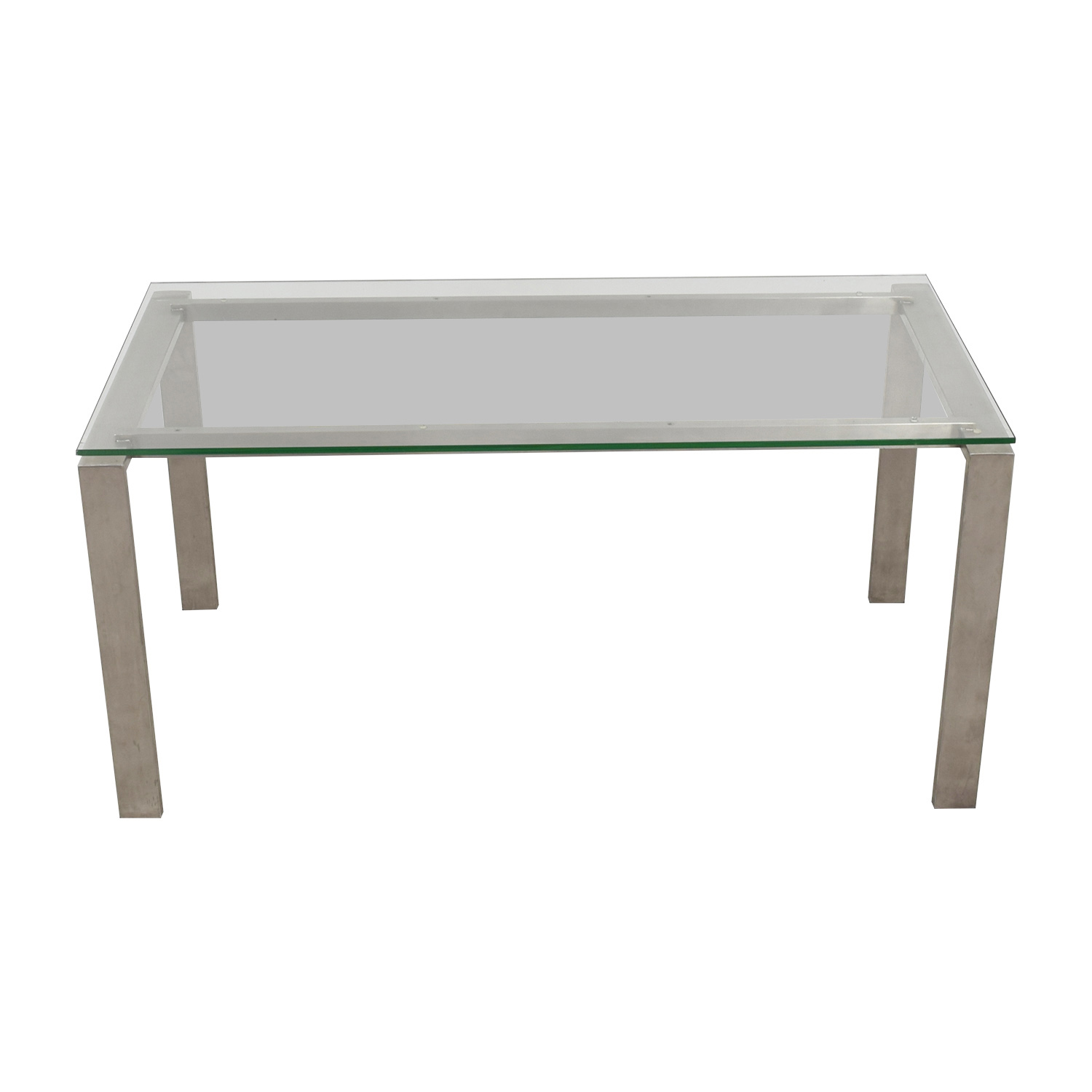 Room & Board Room & Board Rand Stainless Steel and Glass Dining Table Dinner Tables