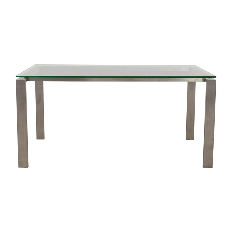 Room & Board Room & Board Rand Stainless Steel and Glass Dining Table discount