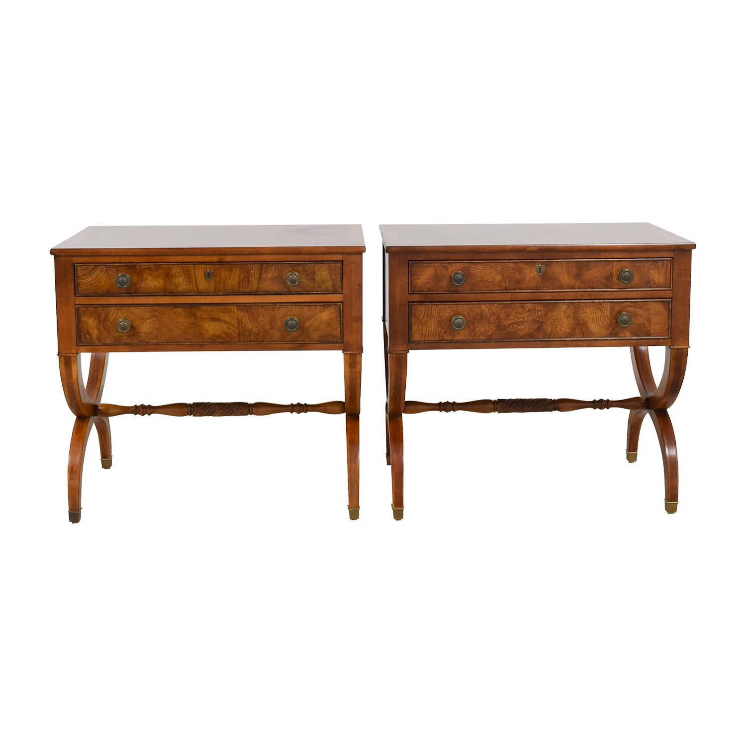 shop Ethan Allen Connolly Two-Drawer Night Tables Ethan Allen End Tables