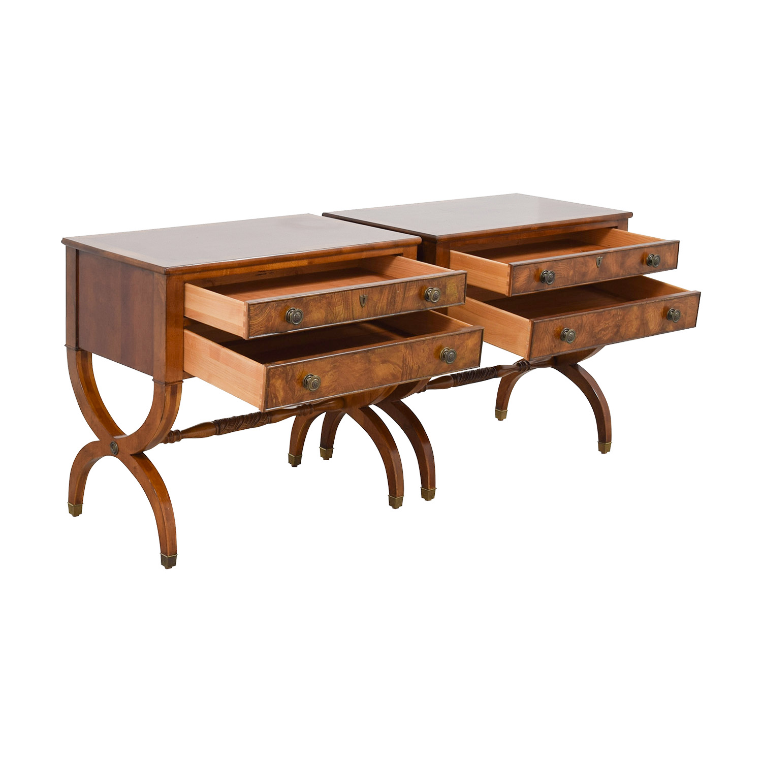Ethan Allen Connolly Two-Drawer Night Tables / Tables