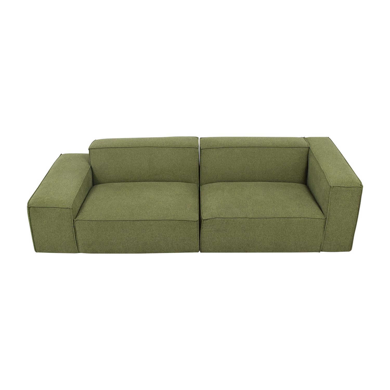 Gray Performance Felt Evergreen Two Cushion Sofa second hand