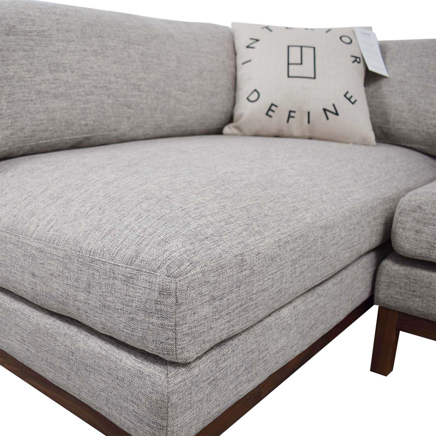 46 Off Jasper Heather Grey Left Chaise Sectional Sofas