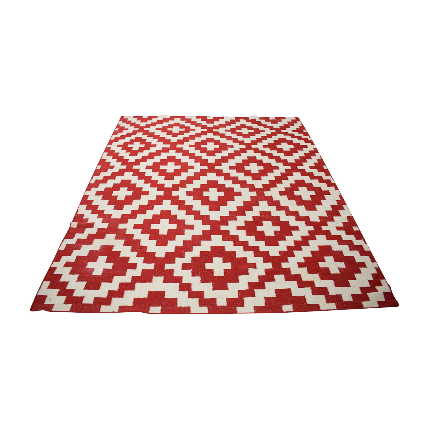 Momeni Laguna Diamond Red and White Flat Weave Rug Momeni