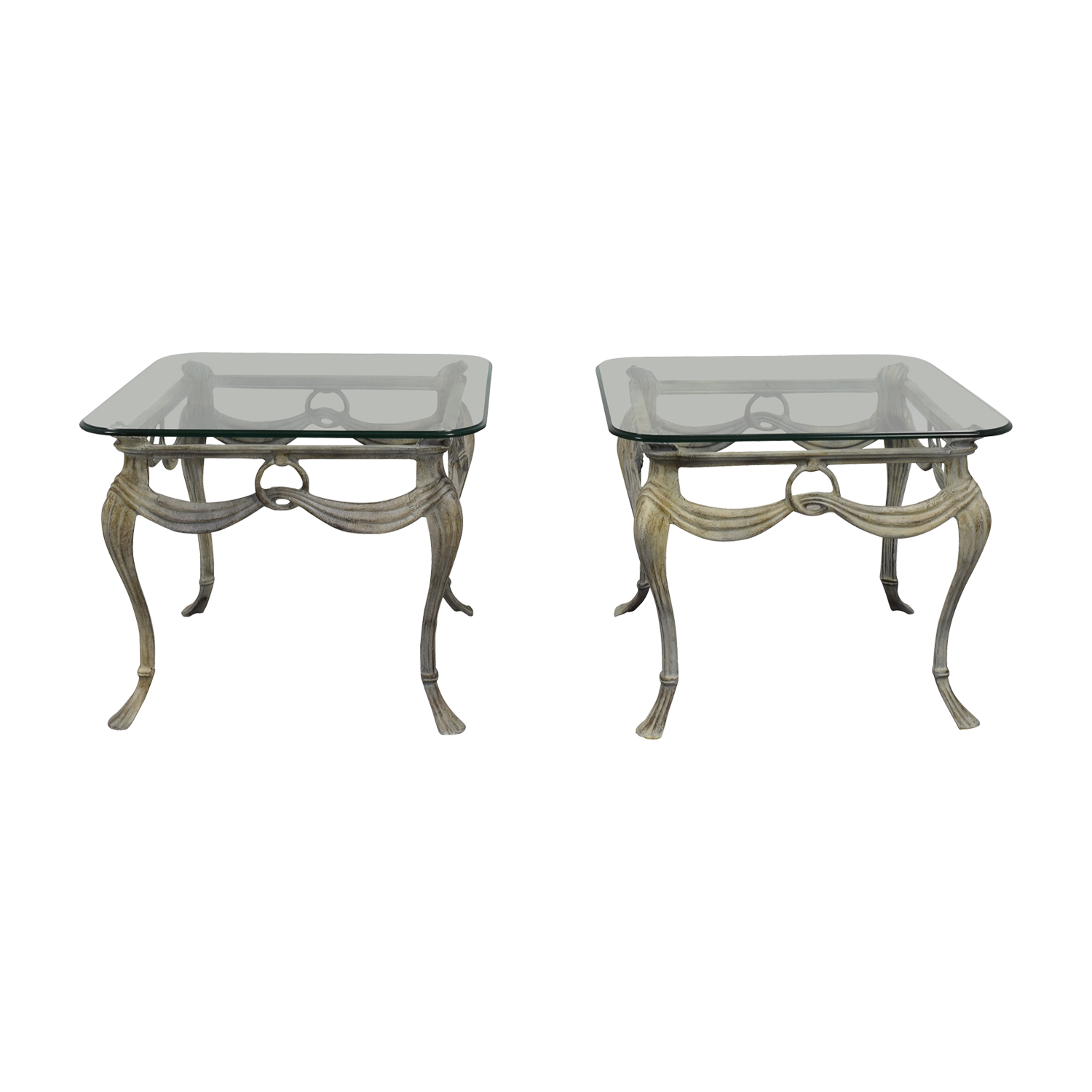 Antique Glass and Metal End Tables dimensions
