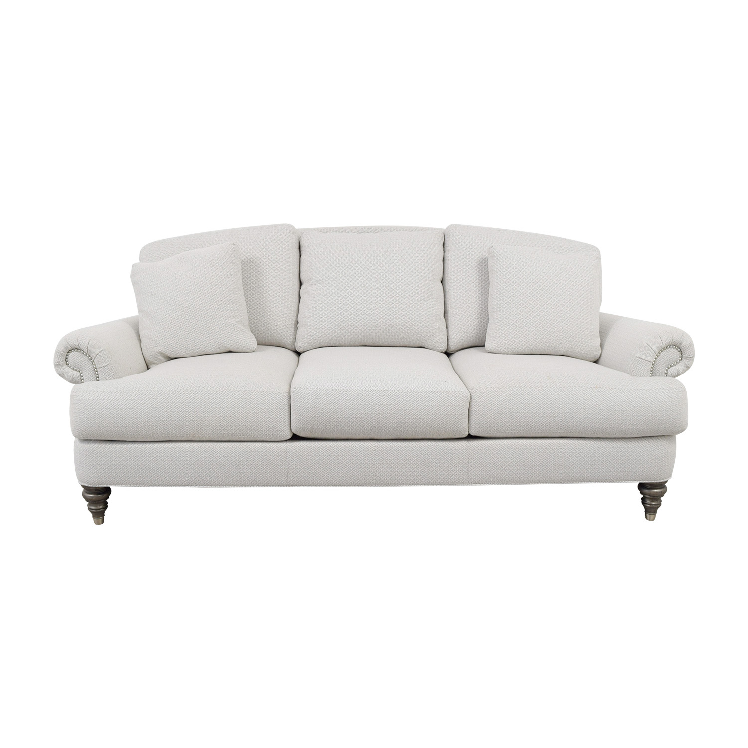 Ethan Allen Ethan Allen Hyde White Three-Cushion Sofa nj