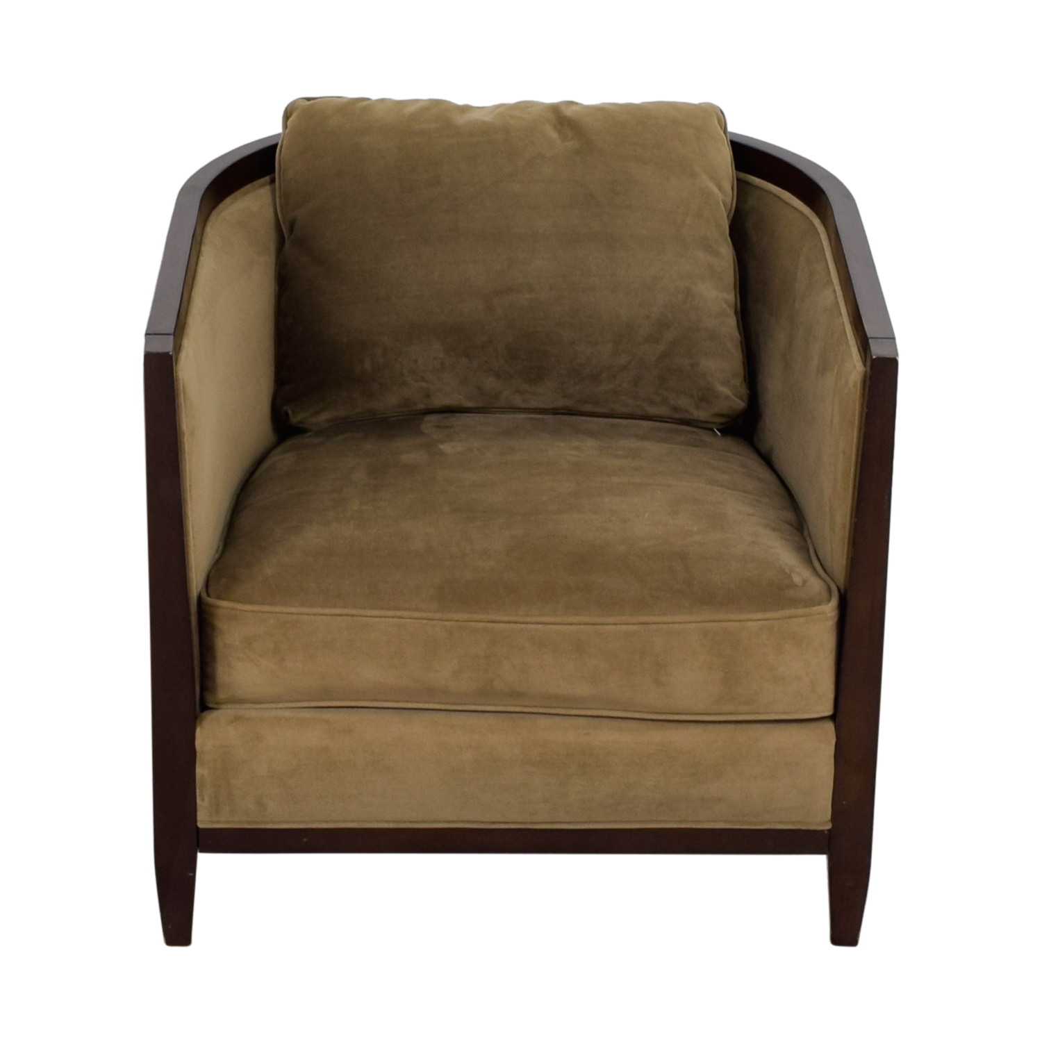 shop Bloomingdale's Beige Upholstered Wood Accent Chair Bloomingdale's