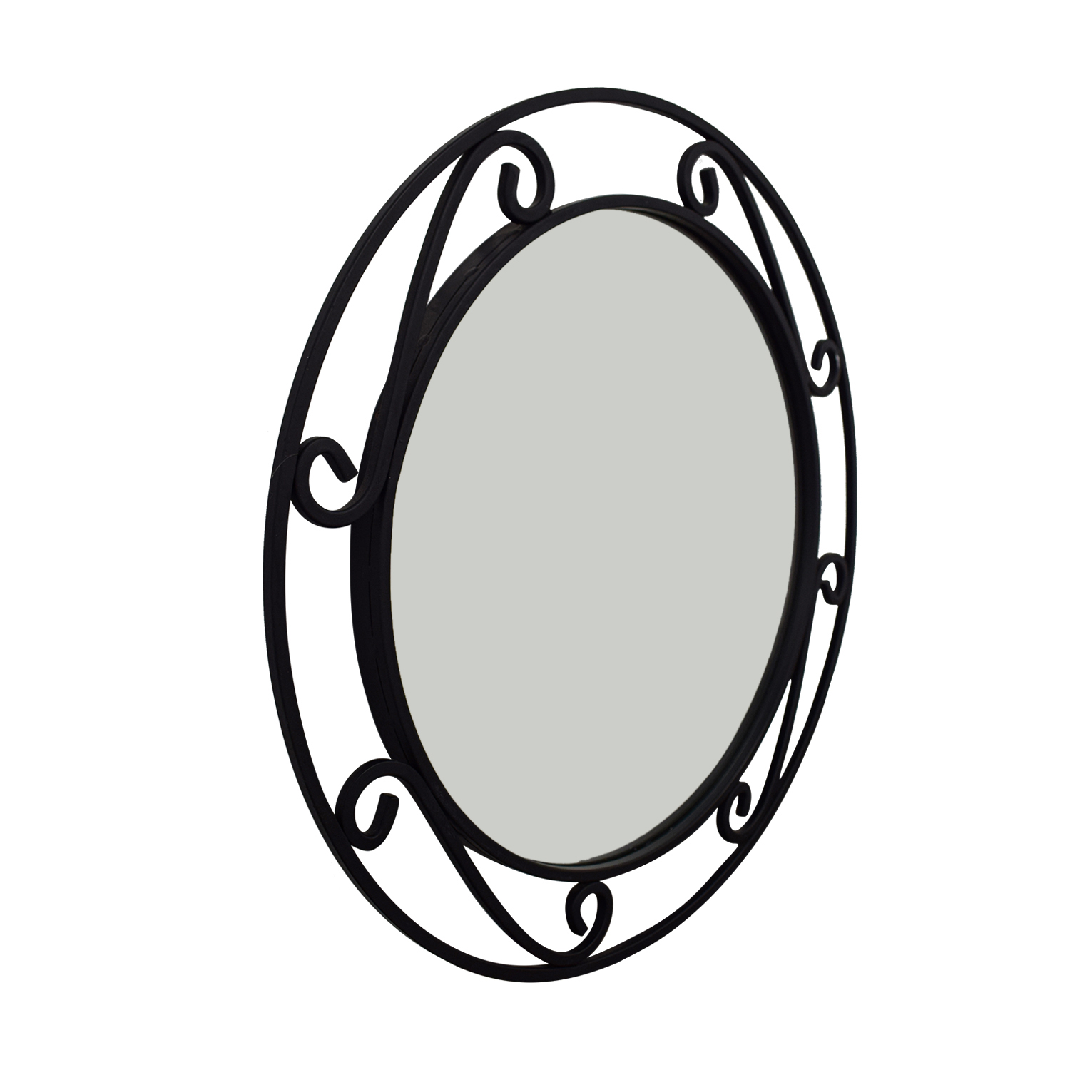 Wrought Iron Black Round Mirror used