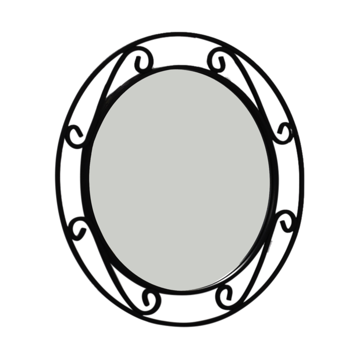 Wrought Iron Black Round Mirror Black