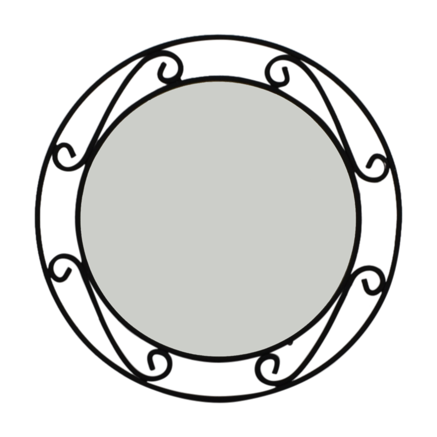 Wrought Iron Black Round Mirror