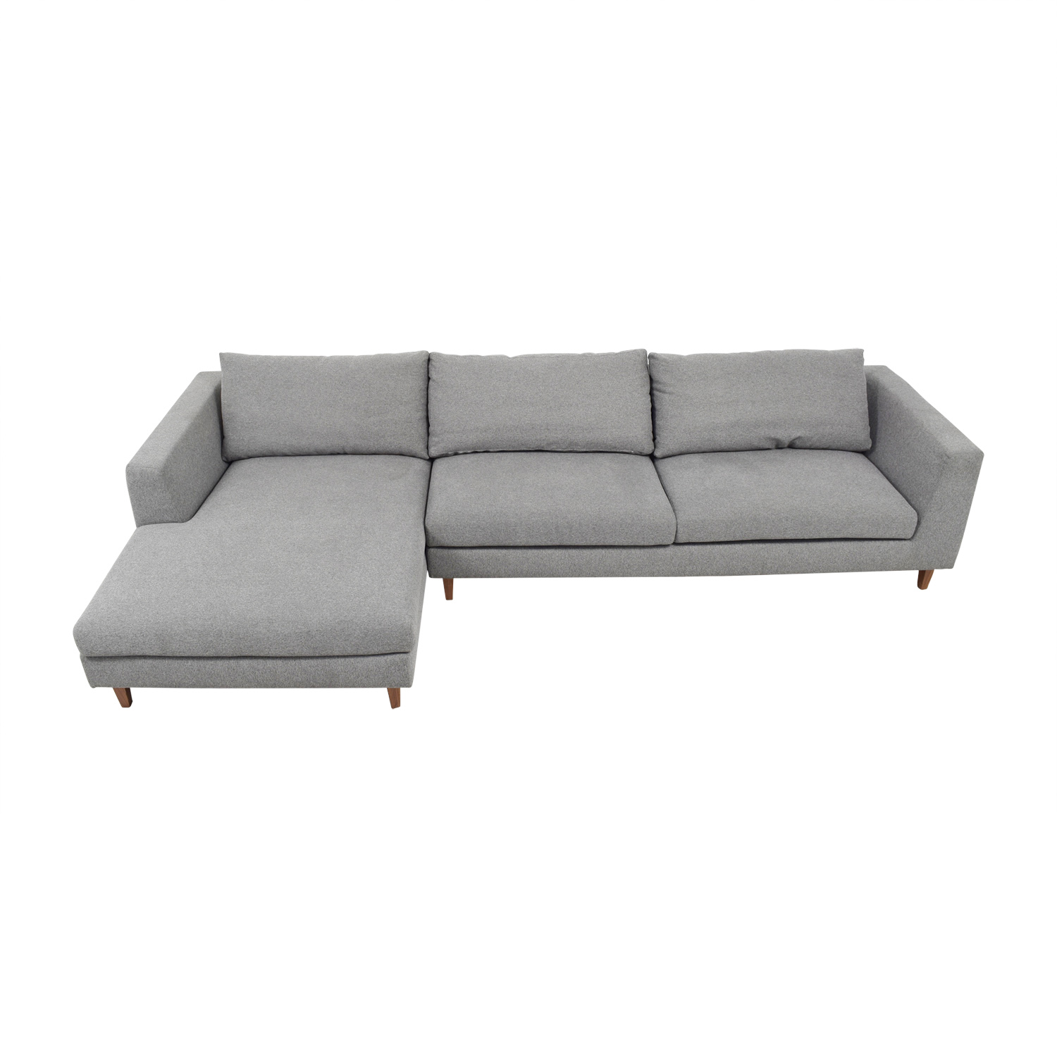 Asher Heather Performance Felt Left Chaise Sectional second hand