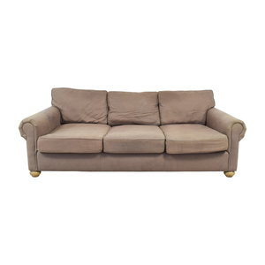 Restoration Hardware Restoration Hardware Brown Three-Cushion Cloud Fabric Couch second hand