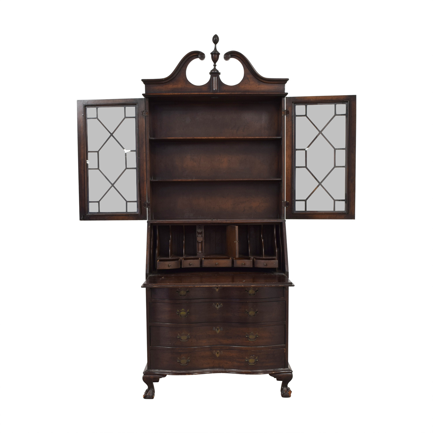 Antique Wood and Glass Secretary Desk Storage