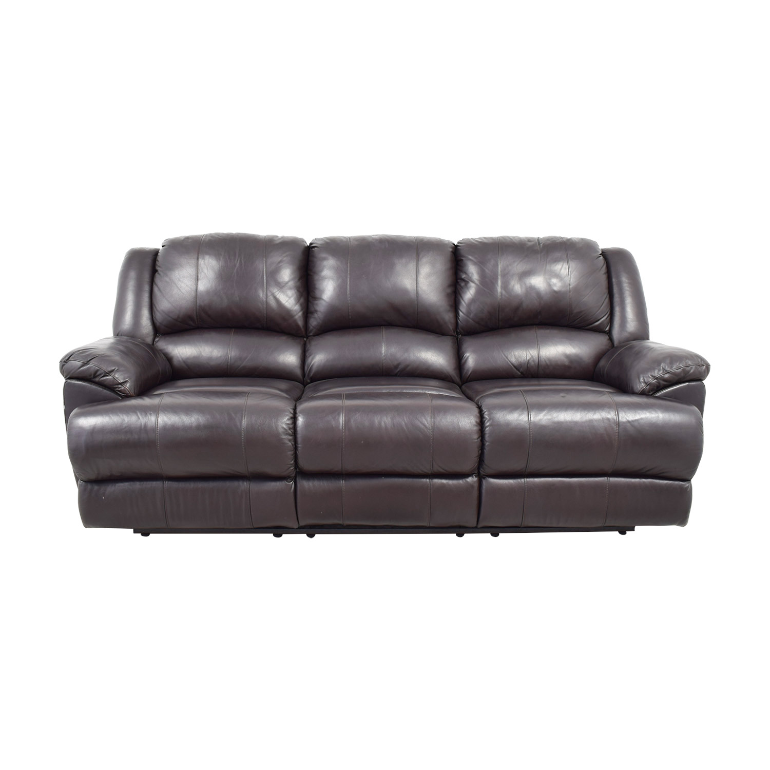 76% OFF - Ashley Furniture Ashley Furniture Black Leather Reclining Couch /  Sofas
