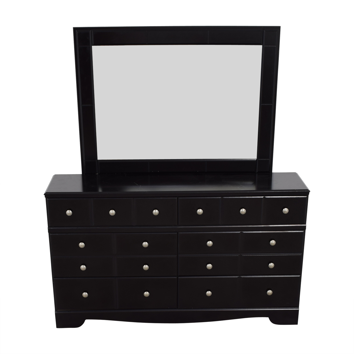 Black Six-Drawer Dresser with Mirror nj